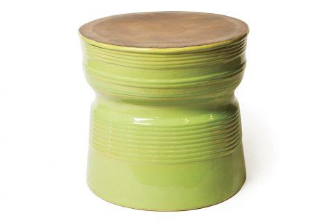 Ceramic Ringed Table Metallic Apple Green 308FT225P2MAG