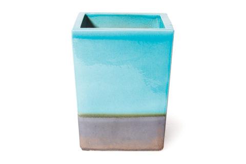 Vases  Cube Planter  308GU368P2TBM, Turquoise Blue, Metallic