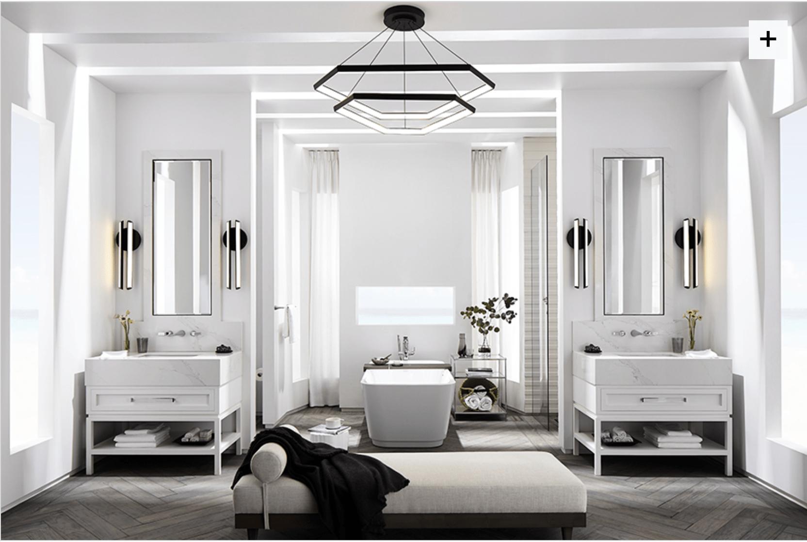 A stunning bathroom designed by Laura Muller of www.fourpointdesignbuild.com for luxury bathroom brand, DXV