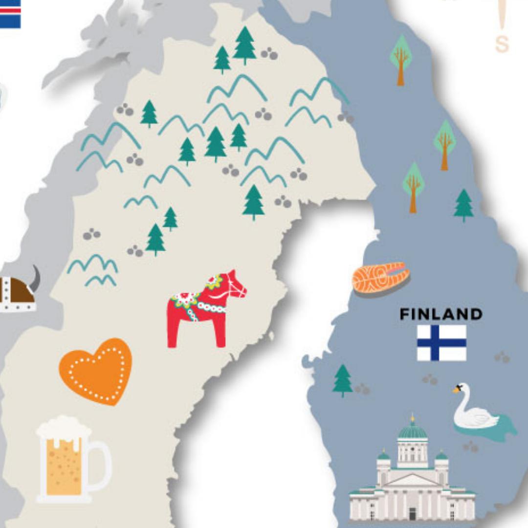 Illustrated Map of Scandinavia