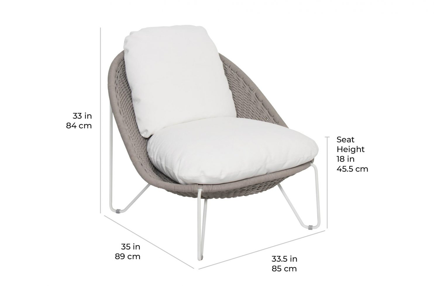 arch aegean lounge chair 620FT020P2 scale dims