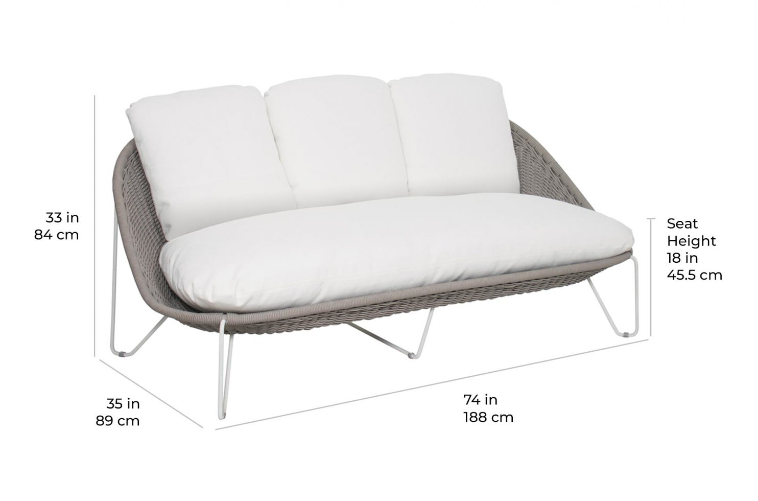 arch aegean sofa 620FT021P2 scale dims