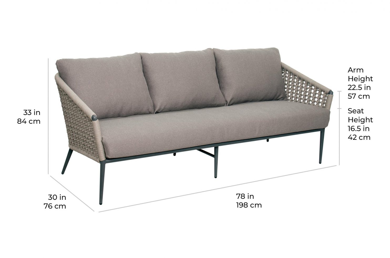 arch antilles sofa 620FT016P2 scale dims