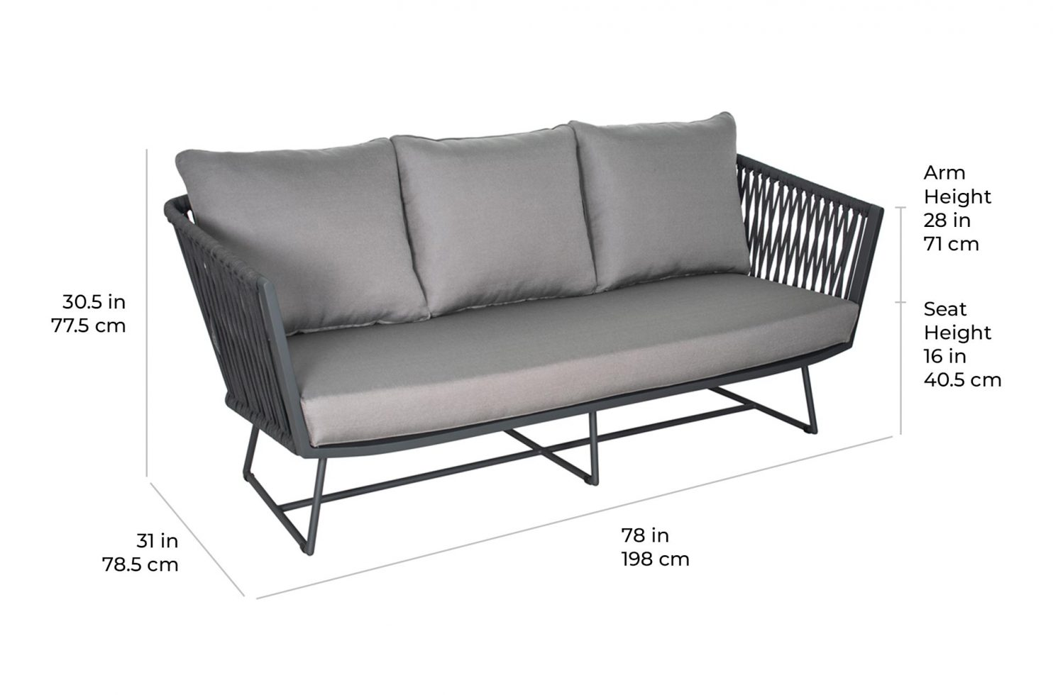 arch orion sofa 620FT081P2 scale dims
