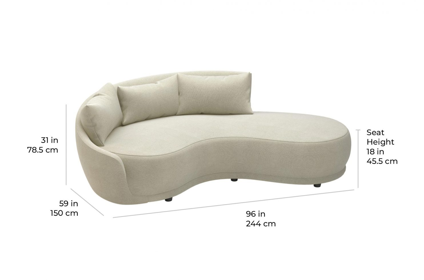 fizz grand royal one arm sofa w bumper 105FT001P2 SWB LAF scale dims