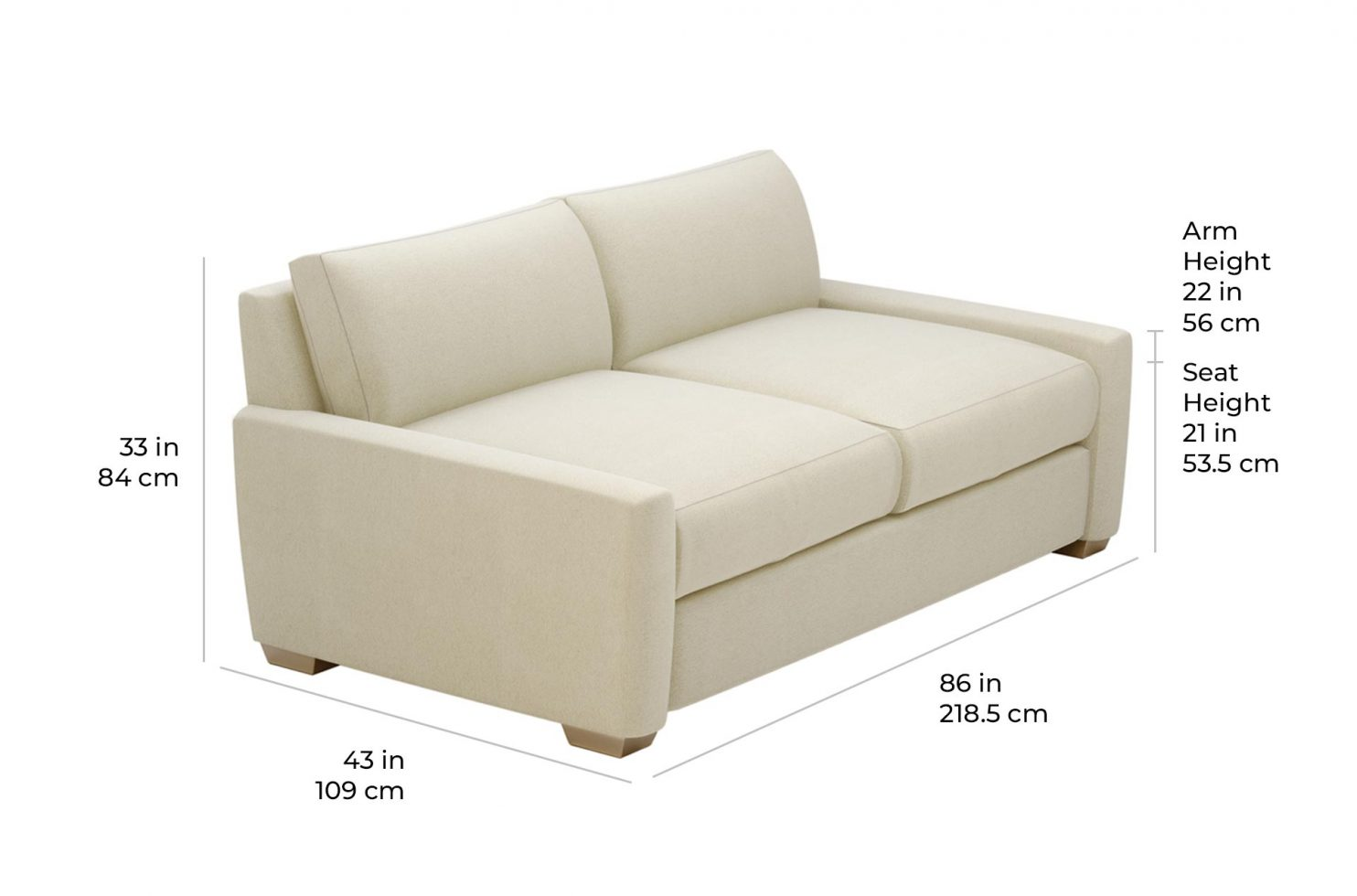 fizz imperial apartment sofa 105FT004P2 SS scale dims