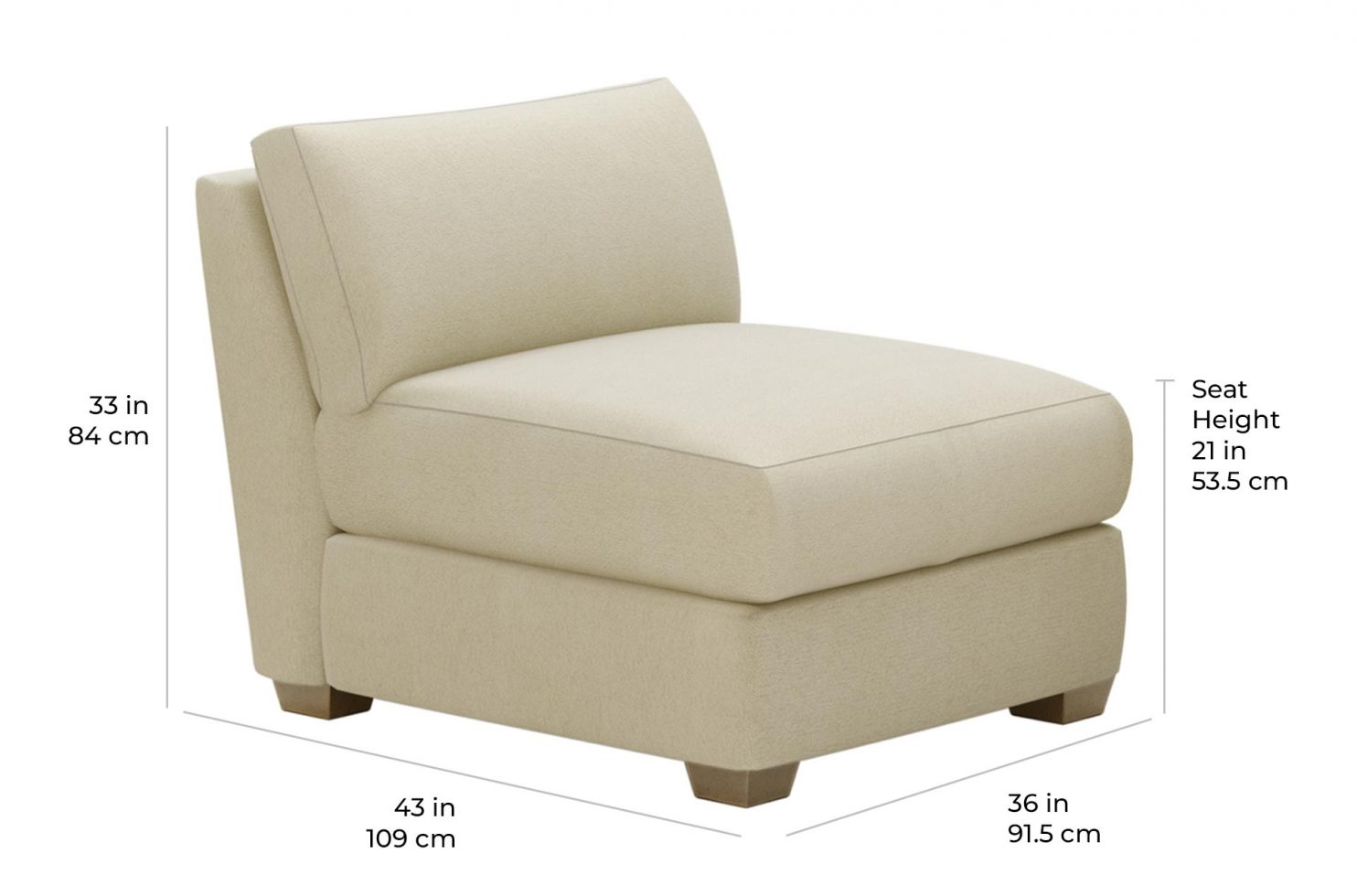 fizz imperial armless chair 105FT004P2 SSA scale dims
