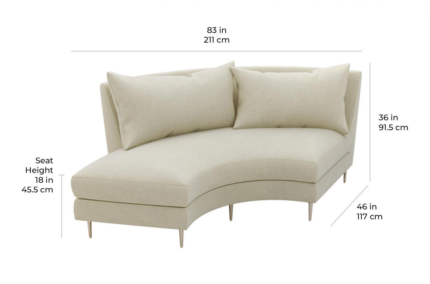 fizz mimosa armless sofa w bumper 105FT003P2 AS LSB scale dims