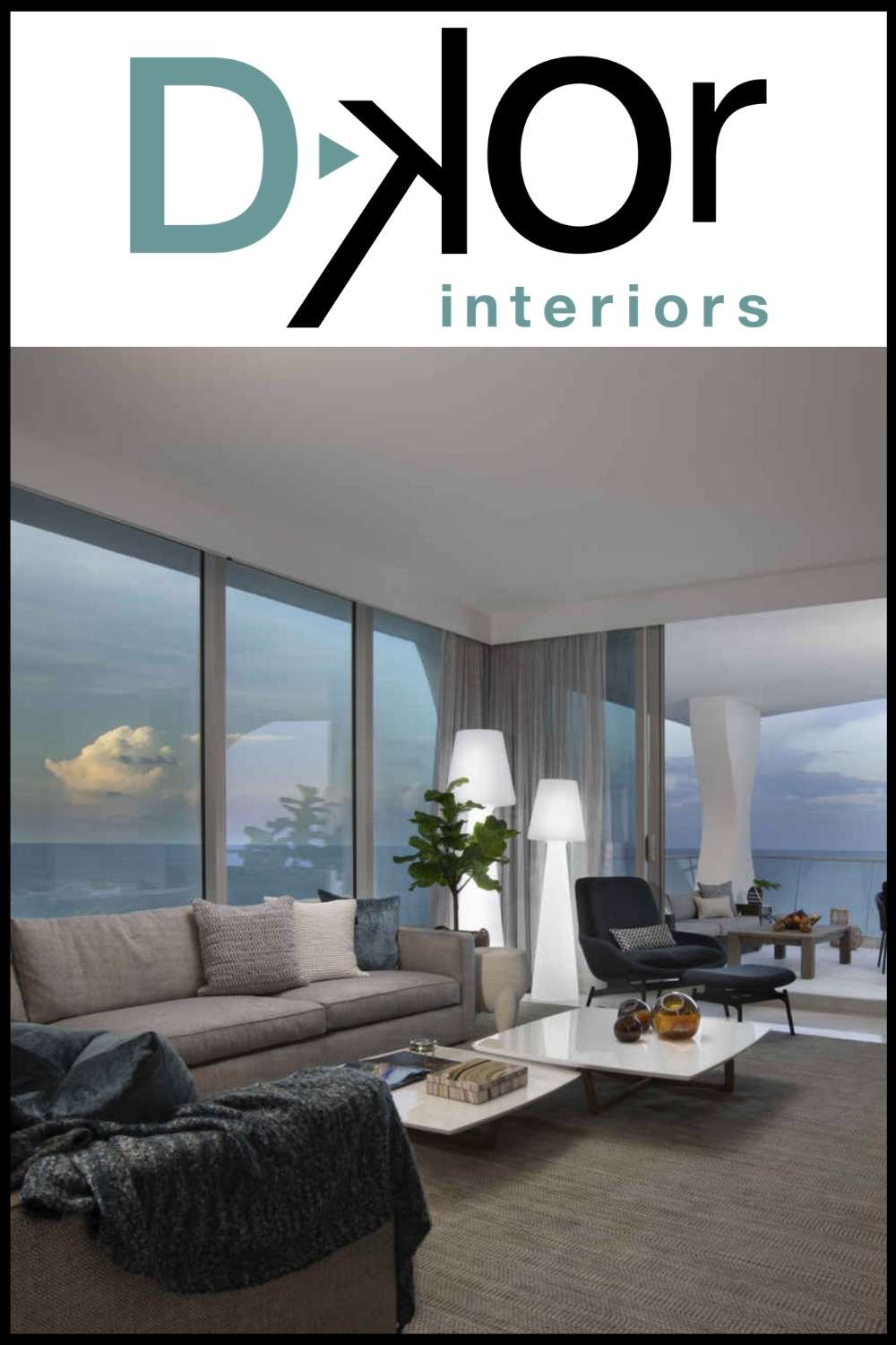Indoor outdoor living room designed by Ivonne Ronderos of DKor Interiors, featuring Seasonal Living furniture on the balcony