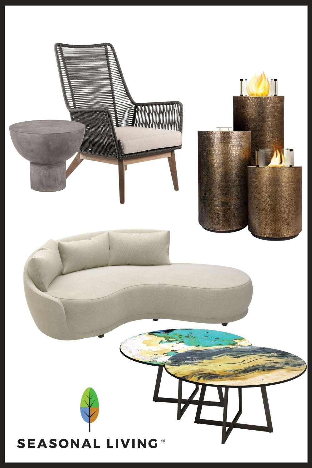 Seasonal Living indoor outdoor furniture material palettes, copper, eucalyptus wood, lightweight concrete, volcanic stone