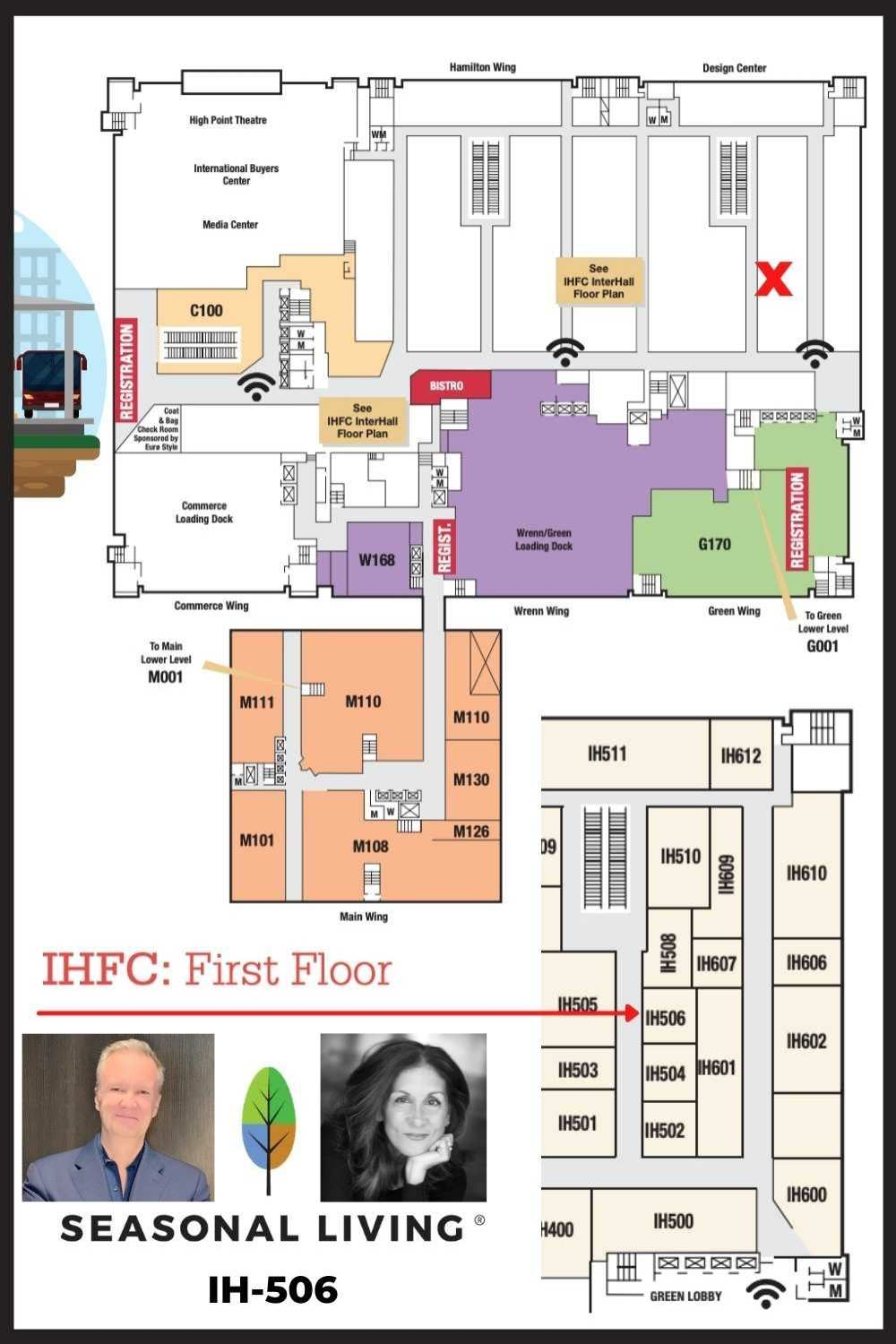 Map of how to find Seasonal Living's exhibitor space at High Point Market in Interhall 506
