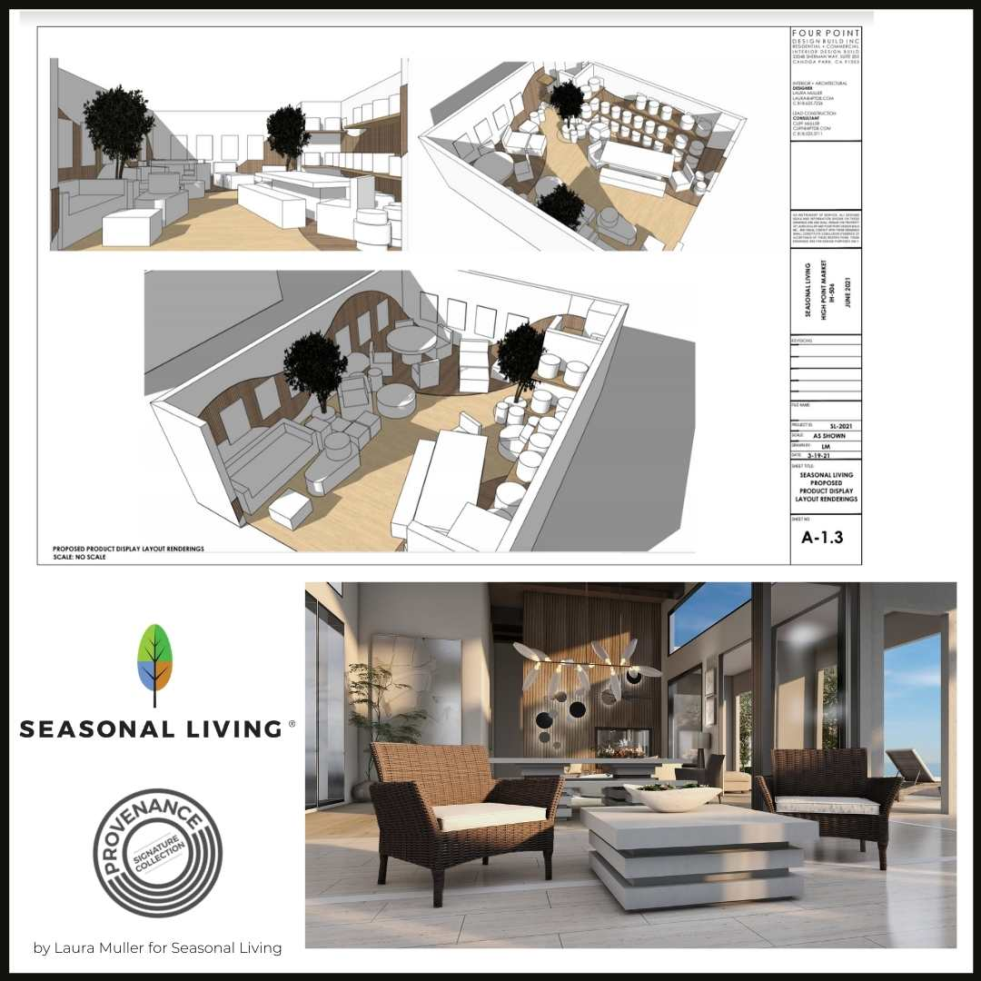Laura Muller's design for Seasonal Living's showroom space at High Point Market, June 2021