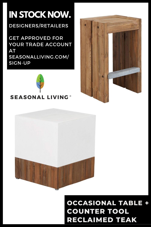 SOLO reclaimed teak barstools from Seasonal Living