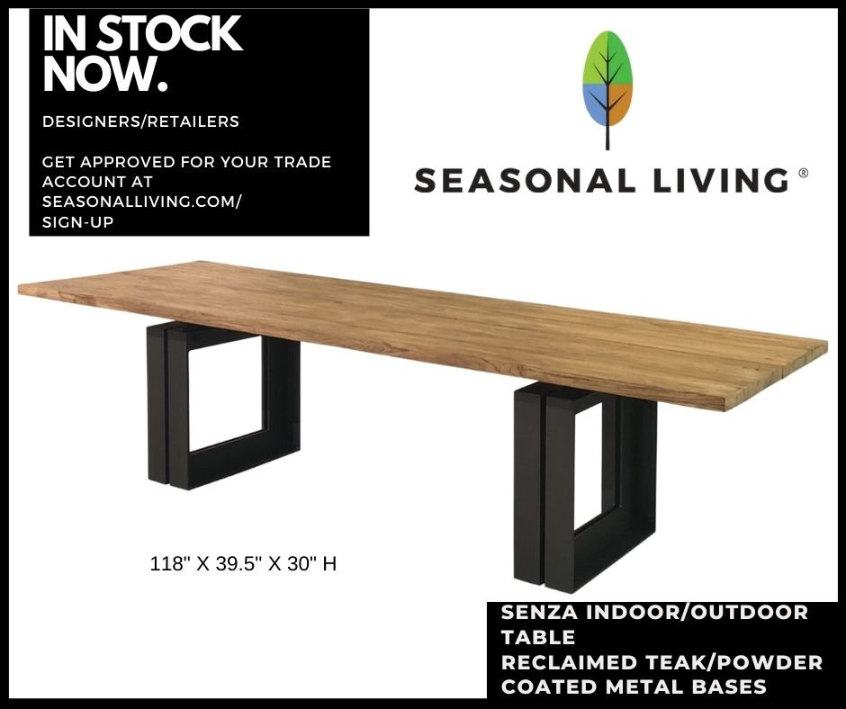 Senza Dining Table with Reclaimed Teak Top