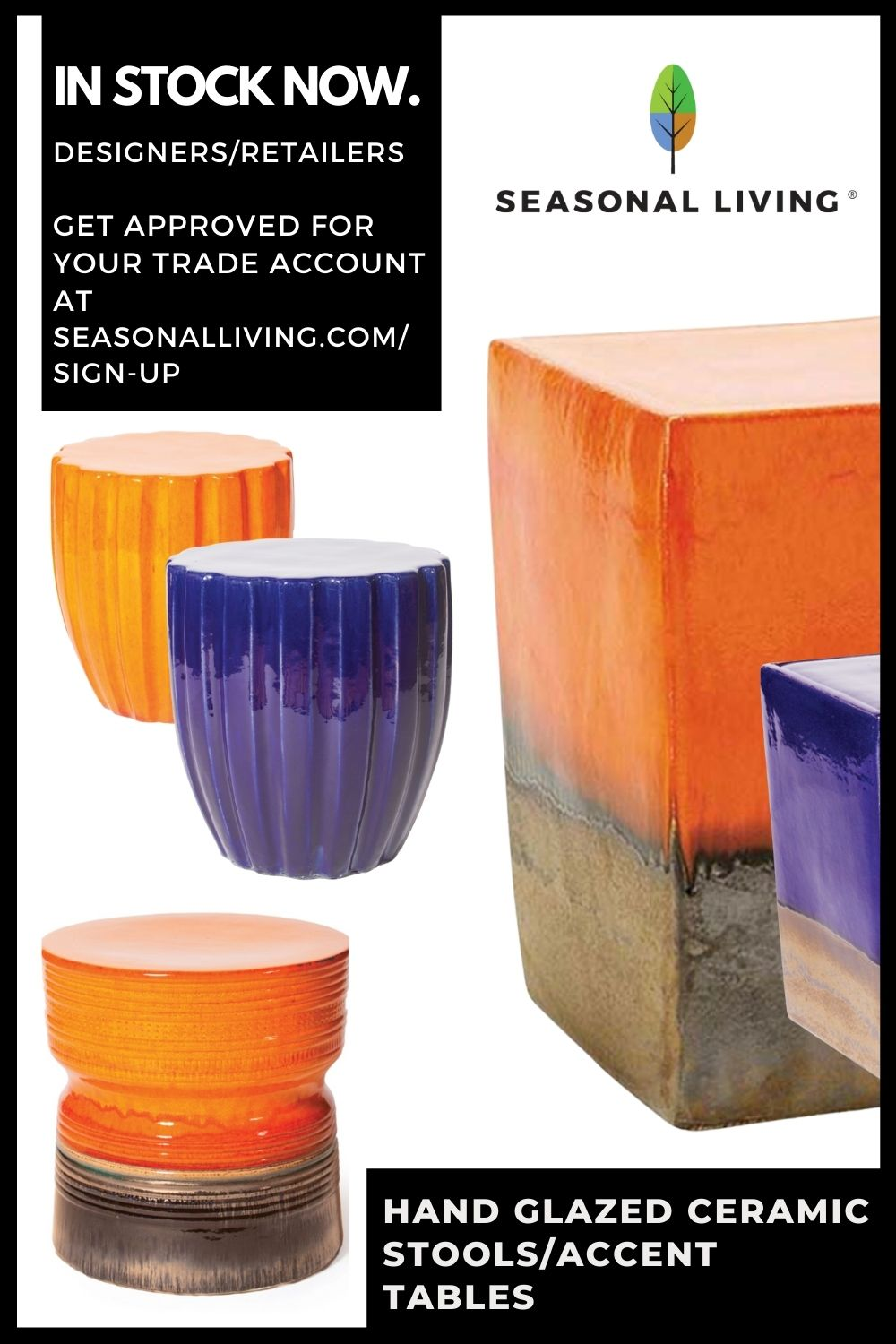 Hand Glazed Ceramic Tables From Seasonal Living for indoor outdoor in stock